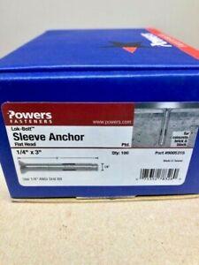"""Powers 05315S 1/4""""x3"""" Flat Head Lokbolt As All Steel Sleeve Anchor, 100/Box"""