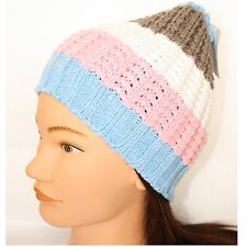 Hat Ladies Girls Knit Knitted Teacosy Blue Pink Cream Beige Wide Stripes BNWT