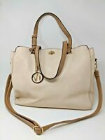 """""""SIMPLY NOELLE"""" Large Handbag Tote cream and tan with gold hardware"""