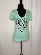 Roxy Women's Aqua Xoxo Heart Print V-Neck Short Sleeves T-Shirt XS