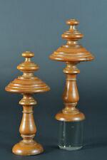 Grande toupie ancienne Pigne Bois sculpté 19 ème antique wood Furniture x 2
