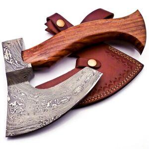 Hand Forged Handmade Damascus Steel Blade Knife Hatchet AXE walnut Wood149