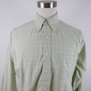 Brooks Brothers Mens No Iron Traditional Fit LS Button Up Green Plaid Shirt 15.5