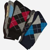 12 Pairs 1 Dozen Argyle Dress Socks Cotton blend Classic Old School Casual Focus