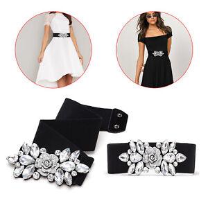 Black Elasticated Stretchable Waist Belt Women Ladies Girls Diamante Rhinestones