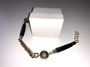 Miss Dee Black Leather Bracelet Golden Chain And Details