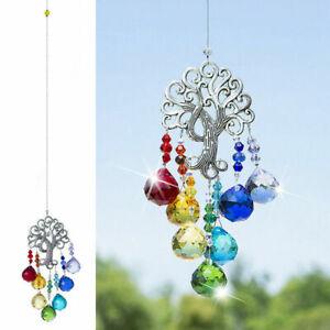 Hanging Crystal Suncatcher Butterfly Rainbow Life Tree Pendant Prisms Decor