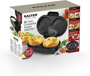Salter XL Twin Dual Fill Non-Stick Omelette Maker 0.8 L Capacity 850 W