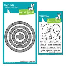 Lawn Fawn PORTHOLE FRAMES Dies + MANATEE-RIFIC Stamps Under the Sea Animal Shape