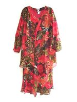 Women's Plus size Printed Two Piece Duster Jacket Dress Sets sizes 1X-2X-3X NWT