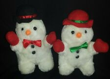 Two Collectable Stuffed Plush Christmas Snowmen  Gift Idea FREE SHIPPING CAN USA