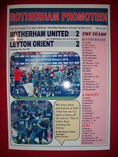 Rotherham United 2 Leyton Orient 2 - Rotherham promoted - 2014 - souvenir print