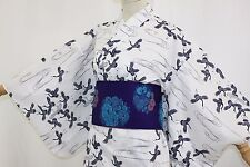 浴衣 Yukata japonais traditionnel -Tsuru - Made in Japan - L/XL SIZE