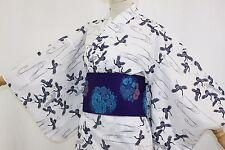 æµ´è¡£ Yukata japonais traditionnel -Tsuru - Made in Japan - L SIZE
