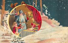 Glitter Christmas Postcard Blue Suited Santa Claus with Children and Toys~114008