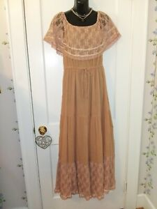 Vintage Young Edwardian By Arpeja Sz 7 Gauze Maxi With Lace/Ribbon Accents