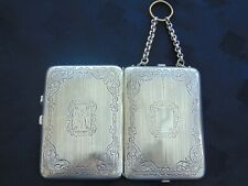 ANTIQUE SOLID CONTINENTAL SILVER CHATELAINE SOVEREIGN HOLDER COMPACT DANCE PURSE