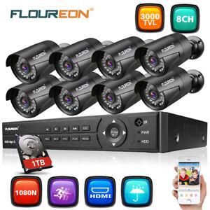 Außen 8CH 1080P 1080N AHD DVR 8X 3000TVL 2MP Überwachungskamera CCTV Kit 1TB HDD