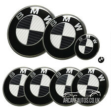 FOR BMW Carbon Fibre Black & White Badge Decals Wrap Sticker ALL MODELS Overlays
