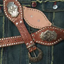 """Western Belt With Metal Mesh And Silver Accents Size 35"""""""