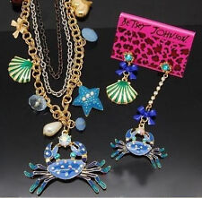 Betsey Johnson Fashion Jewelry starfish crab shell strand necklace and earrings