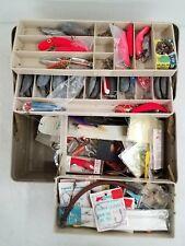 Vtg Plano Tackle Box w/ Mixed Fishing Equipment