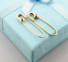 14K Yellow Gold Diamond Safety Pin Earrings Pair (0.07ctw)