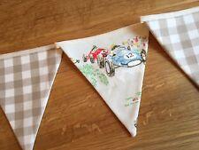 Bunting Handmade Fabric Cath Kidston Racing Cars Laura Ashley Gingham Nursery