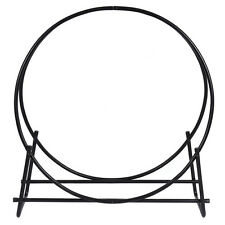 40-Inch Tubular Steel Log Hoop Firewood Storage Rack Holder Round Display New