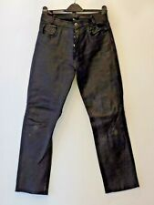 Men's Leather Black Casual Jeans Trousers Biker Motorcycle
