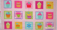 Cupcake Fabric -  Baking Cup Cake Sprinkles Please Pink Robert Kaufman - PANEL
