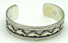 DARLING DANCING OCEAN DOLPHINS Sterling Silver Cuff Bracelet Stamped .925 N112-E