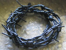 Black Leather Necklace Chain Men's Men Ladies Barbed Wire