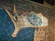 "Vintage MOOSE ANTLER SHED Decoupage Whitetail Deer Clock 20"" Works !"