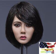 1/6 Asian Beauty Lady head black short hair for suntan Phicen kumik ❶US SELLER❶