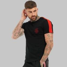 Mens Brave Soul Mission Sleeve Stripe T-Shirt Black/Red (WSA2) RRP £14.99