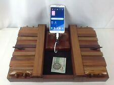 Handmade Exotic Wood Mens Jewelry Valet Phone Charging Docking Station Organizer