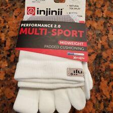 Injinji Mini Crew Length Multi Sport Unisex White Sock Sz Large