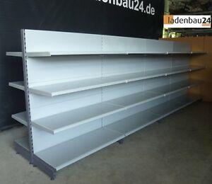5 m Tegometall Gondelregal, Mittelraumregal, 160 cm h, Rückwände glatt, weißalu