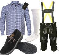 Herren Trachten Set 6tlg mit Lederhose Bayerische Hemd Schuhe Socken oktoberfest