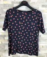 M&S Ladies Size 14 Strawberry Prit Navy T Shirt Top