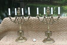 Gothic style Brass candelabra pair of/ candlesticks/20th century/lion shield