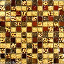 1SF-Metallic Golden Brown Glass 3D Decor Insert Mosaic Tile Backsplash Kitchen