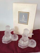 Set of 2 1995 Goebel Hummel Frosted Crystal Angel Candle Holders Avon Free Ship