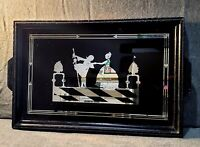Vintage  Reverse Silhouette Serving Tray or Hanging Picture