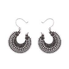 Boho Vintage Silver Dangle Circle Beads Hook Stud Earrings Womens Jewellery Gift