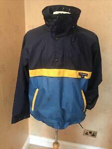 berghaus Vintage Ski smock Goretex M Blue Yellow 1/4 1/2 Zip Hooded 48 Ch Rare