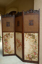 Antique French Carved Walnut Dressing Screen Room Divider Louis Xv Hollywood