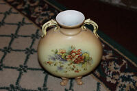 Vintage RW Rudolstadt Germany Double Handle Footed Vase Floral Front Marked 8749