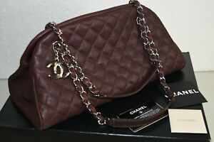 NEW Chanel Caviar Leather Quilted Grand Shopping Bag Shoulder Chain CC Plum Tote